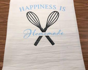 "Flour Sack Towel, ""Happiness is Homemade"""