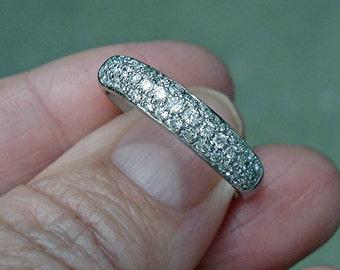 14K White Gold Pave Set 1/2 Carat White Diamonds Classic Band Ring