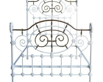 Antique Iron Bed / Vintage Bed / Full Bed / Double Bed / Shabby Cottage Chic Bed ~ 1920's Era