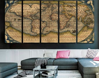World map canvas etsy vintage world map canvas print old world map wall art map canvas set world map panel gumiabroncs Gallery
