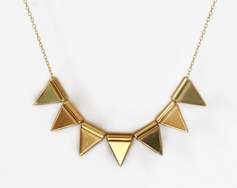 Bib Geometric Necklace - Golden Triangle Necklace - Metal Necklace - Modern Necklace - Free Shipping