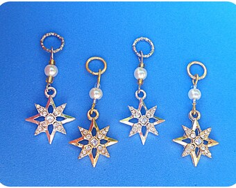 Hearing Aid Charms: Silver and Gold Bethlehem Stars with glass accent beads!