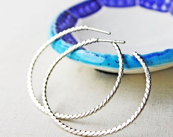 silver hoops, sterling silver large hoop earrings, beaded silver stud earrings