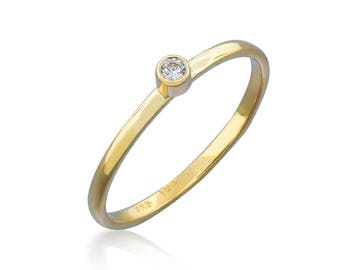 Solid Gold Ring with Canadian Diamond - Tiny Diamond Ring - Gemstone Ring - Engagement Ring - Eternity Band - Minimalist Ring