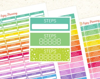 Printable Steps Planner stickers Steps stickers Steps Planner stickers Erin Condren Happy Planner Health stickers Running stickers Fitness