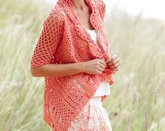 Custom made crochet jacket, cardigan in cotton lace effect, summer jacket, openwork jacket, crochet bolero, elegant cardigan, crochet cape