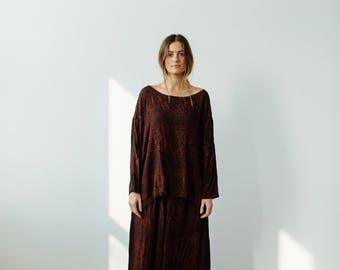 vintage matching wide leg pants + blouse set | Able Shoppe