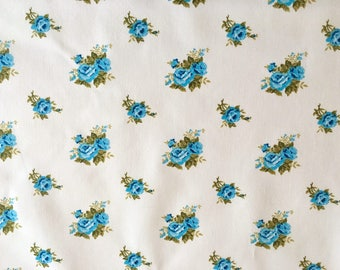 cotton fabric, blue rose fabric, rose fabric, floral fabric, blue roses, white and blue floral fabric, 1930's reproduction fabric, quilting