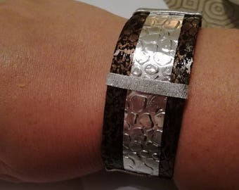 Bracelet with silver and jewels flatwire fabric with print