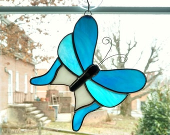 Stained Glass Butterfly Suncatcher, Blue Butterfly Ornament, Swallowtail Butterfly, Garden Decor, Mothers Day Gift, Housewarming Gift