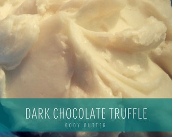 Dark Chocolate Truffle Scented Handmade Body Butter, Original Formula Whipped Organic Body Butter with Organic Coconut Oil & shea butter