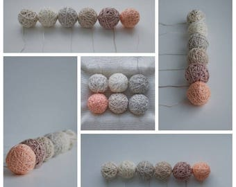 Set of Yarn/Threads Linen and Cotton, Balls of 6 Colors, for Packaging/Knitting/Embroidery/Crocheting/Macrame