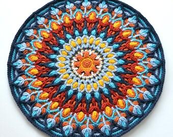Spanish Mandala - overlay crochet PATTERN - round colorful cushion - instant download