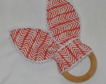 Organic Red Herringbone Rabbit Ears Wooden Teething Ring