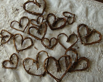 Grapevine hearts twig embellishments Rustic wedding favors mini twigs hearts wedding table craft supplies rustic natural branches sticks