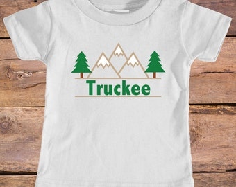 Truckee, California Mountain & Trees - Eco Tri-Blend Infant T-Shirt