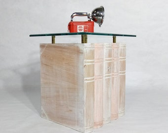Vintage Book Shaped Wood Glass Top Library End side Table Night Stand