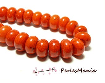 Beads for jewelry: 10 Rondelles 8 by 12mm Orange Magnesite