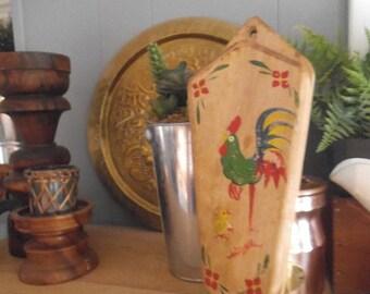 Primitive Rooster Knife Block ~ Vintage Wall hanging Knife holder ~ Chicken Farm House