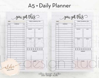 Daily Planner, A5 Planner Inserts, Daily Organizer, A5 Inserts, Daily Schedule, Weekly Planner, Meal Plan, To Do List, Printable Planner