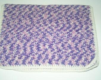 Pretty baby doll heathered purple pink baby crocheted handmade blanket