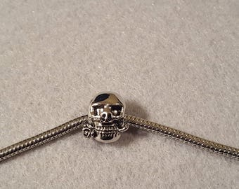 Sterling Silver Pugster Skeleton with Rose European Charm