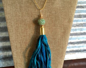 1046G  Beautiful Handmade Silk Sari Tassel Necklace