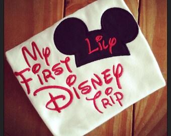 My First Disney Trip Mickey Appliqué Tshirt