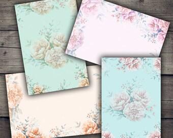 Floral Backgrounds - Digital Collage Sheet Printables