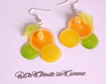 Earrings green, lemon yellow, lemon and grapefruit