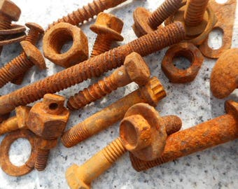 Rusty Screws Nuts and Bolts for assemblage art, sculpture, home decor
