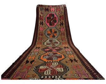 6'4'' x 18'4'' Turkish Kilim Rug Hand Woven Flat Weave Wool Large Runner Area Rug 192 cm x 560 cm  FREE Shipping to USA from Turkey