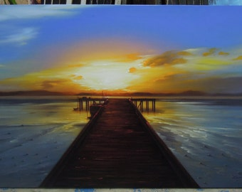 "Sunset painting oil painting on canvas 28""X48"""