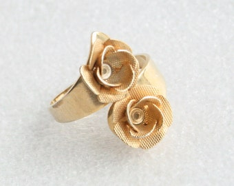 Vintage Blume Ring Gold Mesh Floral Wrap Ring Jahrgang Bypass Kostüm Schmuck Ring