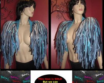 Fringe Shrug,fringed Bolero,Fringe epaulette,Blue Fringe shrug,knit fringe shrug,custom epaulette,