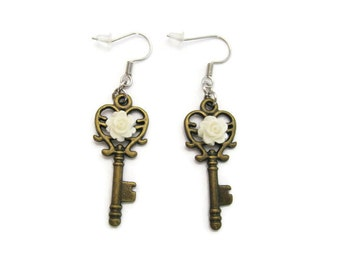 Key Earrings   Rose Earrings , Steampunk Earrings  Rose Jewelry Key Jewelry Bridal Party  Bridal Jewelry Bridesmaids Gift Heart Key Earrings