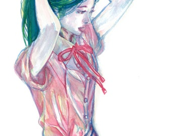 Yuka original watercolor portrait painting of a Japanese girl