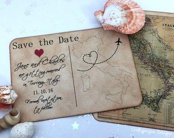Destination enregistrer la carte postale Date ensemble de 75 avec enveloppe Vintage / personnalisé carte emplacement / voyage Vintage mariage carte postale garder la Date
