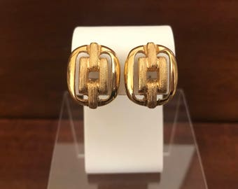Vintage Goldtone Buckle Design Clip-On Earrings. Premier Design. Brushed Gold Texture.Classic Earrings. Statement Earrings. Gifts for Mom.