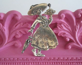 Vintage Sterling Silver Mary Engelbreit Pin  Mary Engelbreit  Brooch Birthday Party Pin Happy Birthday Gift for Her