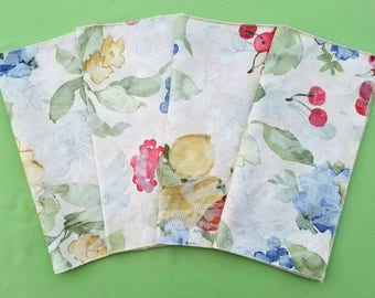 Upcycled Cloth Napkins | Set of 4 | Heavyweight Repurposed Fabric | Fruit Floral Flower | Spring Summer Reusable Napkins