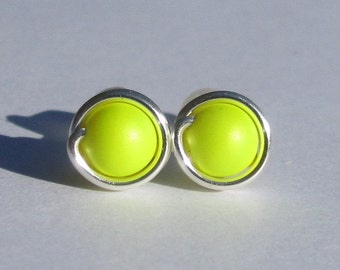 Small Neon Yellow Pearl Stud Earrings (7mm), Swarovski Pearl Stud Earrings, Wire Wrapped Sterling Silver Stud Earrings, Tiny Stud Earrings
