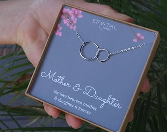 Mother Daughter Necklace - Sterling Silver two interlocking infinity circles, Mothers Day Jewelry Gift for Mom, Stepdaughter, Stepmom, Niece