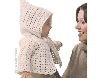 Crochet Pattern Baby Hoodie Pattern, Vintage Hooded Jacket Pattern Boys Girls Sweater Shell Stitch PDF Instant Download 6 Months 1 Year C170