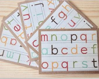 10 Alphabet Note Cards. Alphabet Teacher Gift. Teacher Cards. Back To School Card Set. Teacher Stationery Gift.  Blank Teacher Cards