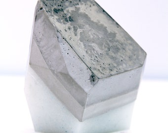 Milky Blue Pearly Gem with Concrete Stone