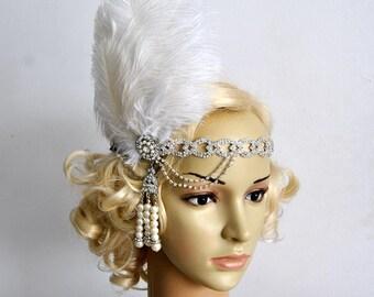 The Great Gatsby 20's rhinestone pearls 20's flapper Headpiece headband, Bridal Headband, Crystal Ribbon Headband
