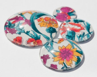 Set of 4 Liberty Print Glass Cabochons for Jewellery Making, Bead Embroidery, Beadweaving