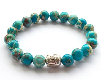 Blue Regalite Jasper Gemstone Bead Buddha Bracelet Natural Stones