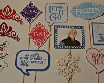Frozen Photo Booth Props-includes Elsa, Anna, Olaf, and more!